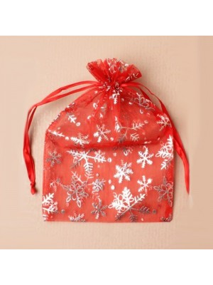 Organza Gift Bag - Red With Silver Snowflake Print (15x22cm)