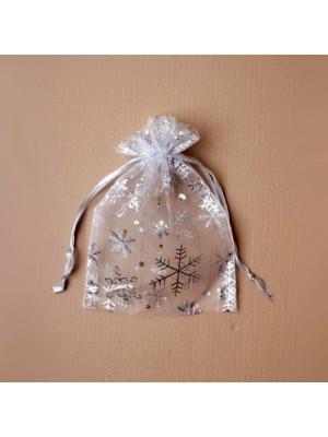 Organza Gift Bag - Silver Snowflake Print (11x15cm)