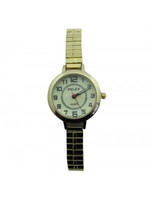 Pelex Ladies Glow in The Dark Metal Expander Strap Watch - Gold