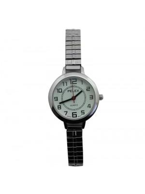 Pelex Ladies Round Dial Metal Expander Strap Watch - Silver