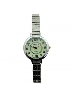 Pelex Ladies Glow in The Dark Metal Expander Strap Watch - Silver