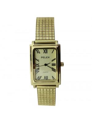 Pelex Mens Rectangular Dial Metal Expander Strap Watch - Gold