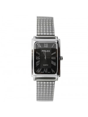 Pelex Mens Rectangular Dial Metal Expander Strap Watch - Silver
