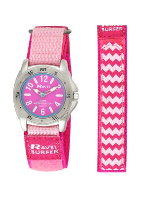Ravel Girls Water Resistant Velcro Strap Watch - Pink & Silver