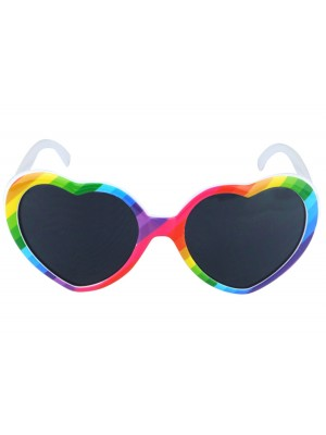 Rainbow Pride Heart Sunglasses With Dark Lenses
