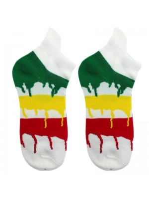 Rasta Colours Dripping Paint Stripes Trainer Socks - White