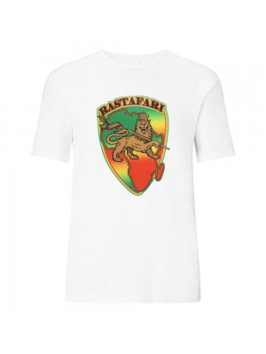 Rastafari Lion Print White T-Shirt