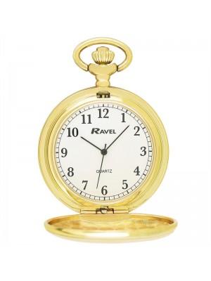 Ravel Design Polished Pocket Watch - Gold
