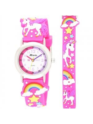 Ravel Girls Unicorn Design Time Teacher Watch - Hot Pink