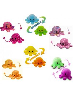 Reversible Plush Toy Happy/Sad Mood Octopus - Blue Assortment