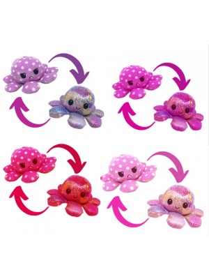 Reversible Shimmer Plush Toy Happy/Sad Mood Octopus - Assorted