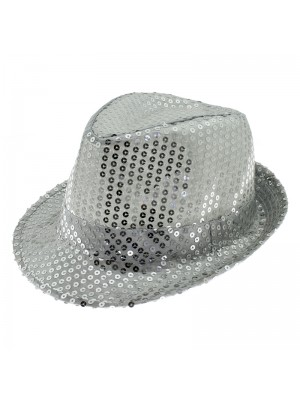 Sequin Trilby - Silver