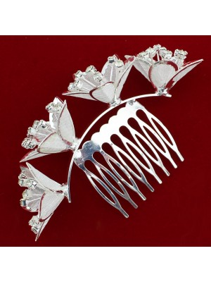 Silver Diamante Crystal Four Lily Flower Design Hair Comb