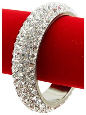 Crystal and AB Stones Thick Diamante Bangle - (Size 2*10)