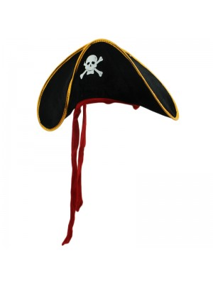 Skull & Cross Bone Pirate Hat With Red Tassels