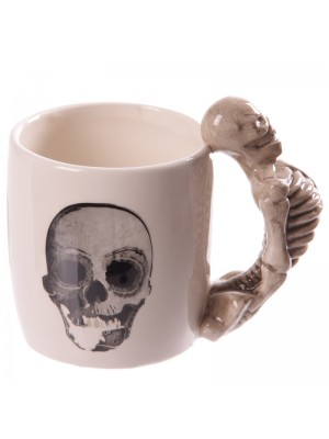 Ceramic Skull & Bone Skeleton Shaped Handle Mug