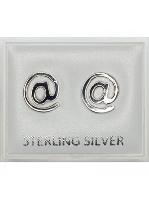 "Sterling Silver ""@"" Design Studs - 9mm"