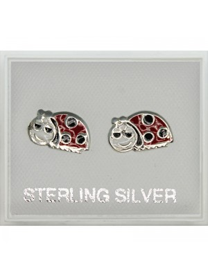 Sterling Silver Ladybird Design Studs - 10mm