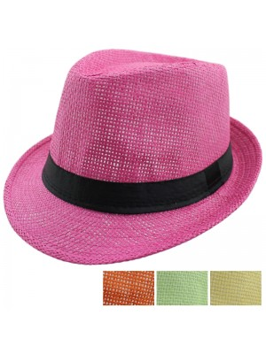 Straw Trilby Hat (Black Band) - Assorted Pastel Colours