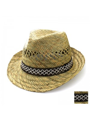 Straw Trilby With Crosses Design - Assorted Colours & Sizes
