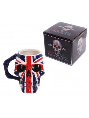 UK Flag Skull Head Ceramic Shaped Mug