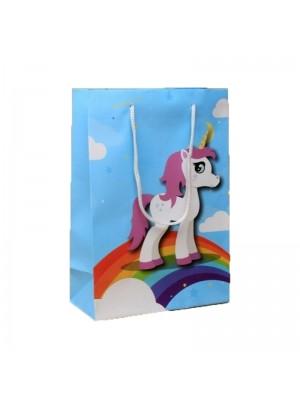 Unicorn Rainbow Print Blue Gift Bag White Corded Handles (20x14x7cm)