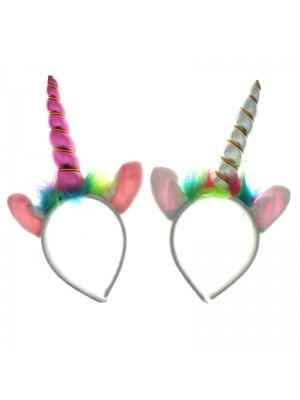 Unicorn Horn & Ears Headband With Neon Fur - Assorted Colours