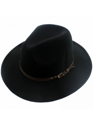 Mens Black Wide Brim Trilby With Studded Belt Band (Assorted Sizes)