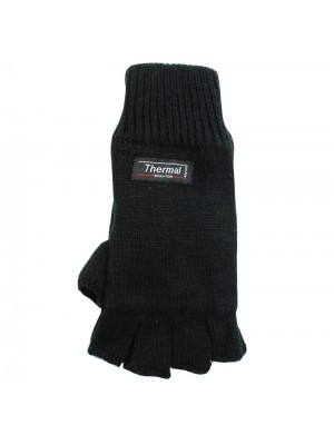 Unisex Knitted 3M Thinsulate Insulation Fingerless Gloves - Black