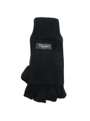 Unisex Knitted 3M Thinsulate Insulation Fingerless Gloves - Black