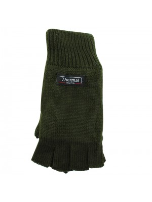 Unisex Knitted 3M Thinsulate Insulation Fingerless Gloves - Olive Green