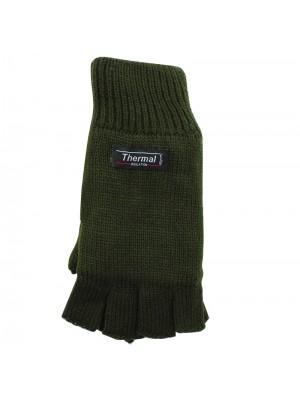 Unisex Knitted 3M Thinsulate Insulation Fingerless Gloves - Olive Green