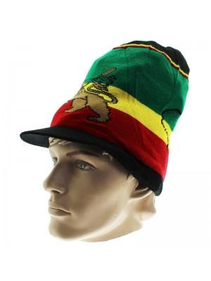 Unisex Lion of Judah Long Rasta Peak Hat - Black