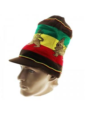 Unisex Lion of Judah Long Rasta Peak Hat - Brown