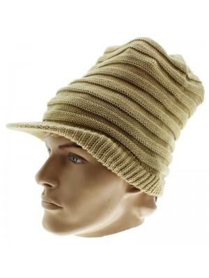 Unisex Plain Long Rasta Peak Hat - Beige