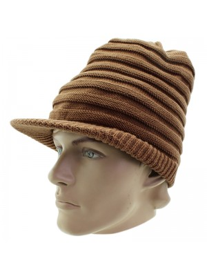Unisex Plain Long Rasta Peak Hat - Brown