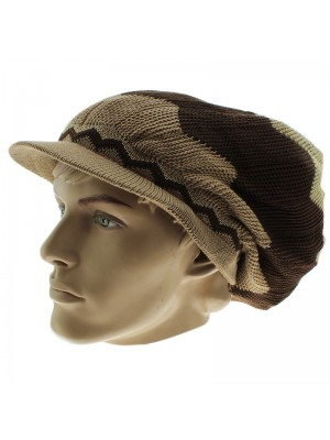 Unisex Zig-Zag Long Rasta Peak Hat - Beige & Brown
