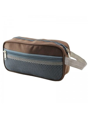Brown Pencil Case With 3 Zipper Compartments