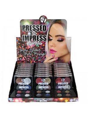 W7 Pressed To Impress Glitter Eyeshadow Palette - Assorted