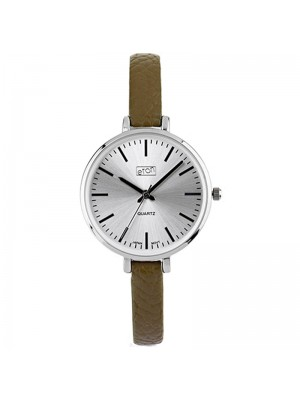 Eton Ladies Faux Slim Strap Watch - Olive/Silver