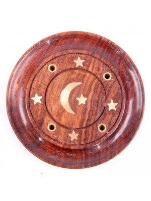 Wooden Incense Holder Ash Catcher - Moon & Stars Inlay