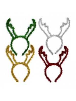 Assorted Colour Christmas Reindeer Antlers Tinsel Headbands (11 inch)